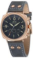 AVI-8 AV-4022-04 Lancaster Black Dial Leather Strap Chronograph Men's Watch