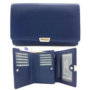 Jockey Club Leder Damen Geldbörse Portemonnaie Massala weiches Rindleder blau