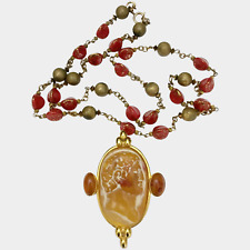 Philippe Ferrandis Huge Roman Cameo Brooch-Pendant Necklace
