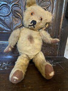 Vintage Teddy Bear. Play Worn. Mohair, Amber Eyes, 13 Inches