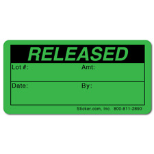 RELEASED, Quality Control Green Dayglo Fluorescent, Roll of 1,000 Stickers