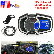 DC12V LCD Racing Motorcycle Speedometer Odometer RPM Fuel Gauge Water Temp Meter