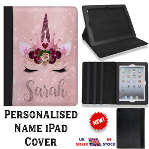NEW PERSONALISED ROSE GOLD UNICORN FLIP LEATHER IPAD CASE COVER ANY NAME PRINTED