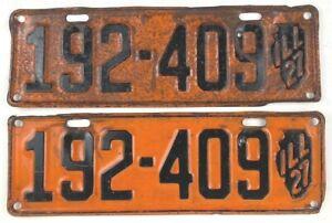 Vintage 1927 License Plate Pair Model A Cruise Night Garage Man Cave Den Gift