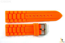 24mm Fits Fossil Orange Silicon Rubber Watch BAND Strap