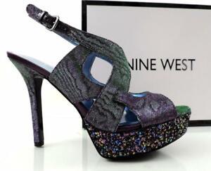Women's Shoes Nine West Fontia Platform Heels Sandals Purple Fabric Size 9.5