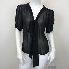 Atmosphere Ladies Black Sheer Neck Tie Short Sleeve Blouse Shirt Top UK Size 10