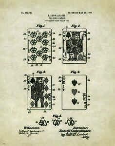 Vintage Playing Cards Patent  Art Print Texas Holdem Poker WSOP Game Room Decor
