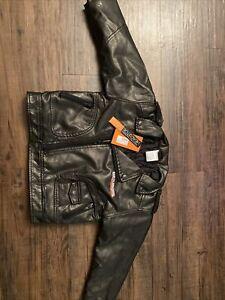 Harley-Davidson Kids Bar And Shield Black Faux Leather Biker Jacket