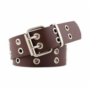 Punk Rock Leather Belts for Women Black Coffee Chain Female Pin Buckle 107cm