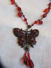 "Dark Copper Tone Red Glass Bead Butterfly Chain Necklace - 25-29"" long"