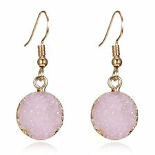 Natural Stone Geometric Pink Round Earrings Drop Dangle Women Jewelry Party Gift