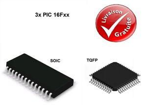 3x Microcontrôleurs Microchip : PIC 16F - SOIC / TQFP : NEUF