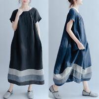 Mode Femme Floral Loose Bande Manche courte Robe Dresse Décontracté lâche Plus
