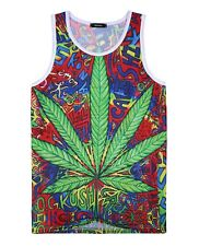 Cannabis Leaf Graffiti Tank Top Vest (festival colourful weed dope vest)