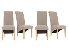 4 x Designer Cream Linen Premium Dining Chairs Roll Top Scroll