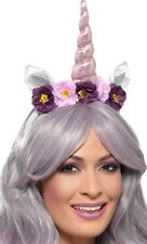 Ladies Floral Unicorn Horn Animal Hair Hairband Festival Fun Fancy Dress Costume