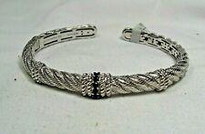 "Sterling Silver 925 JUDITH RIPKA Hinged ONYX Bracelet. 26.6g, 7""."
