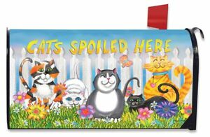 Cats Spoiled Here Spring Magnetic Mailbox Cover Floral Humor Briarwood Lane