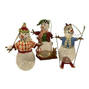 """Princess House Snow People Ornaments Set of 3  Snowman Skier Sled #6413 4"""" Tall"""