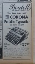 1945 newspaper ad for Corona Portable Typewriter - first US made off the lines