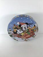 Vintage Christmas Disney Tin Mickey Mouse Minnie Mouse Pluto Snow Sledding Sled