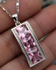 18K White Gold Filled - 8MM Square Pink Topaz Noble Women Prom Pendant Necklace
