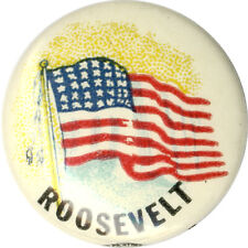 1944 Franklin Roosevelt American Flag Campaign Button