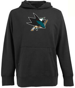 Antigua Mens San Jose Sharks Signature Hood Applique Black Pullover Sweatshirt M