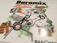 BAROMIX Concrete Mixers & Powerbarrows Original Vintage 1970s Sales Brochure