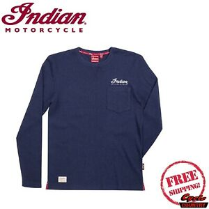 INDIAN MOTORCYCLE BRAND MEN'S LONG-SLEEVE WAFFLE T-SHIRT NARY