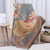 130x180cm World Map Cotton Throw Rug Couch Lounge Sofa Blanket Bed Sheet Rel