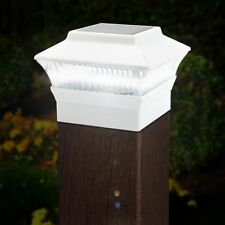 2 X White LED Outdoor Garden Post Solar Powered Deck Cap Square Fence Lights