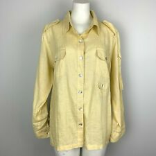 Chico's Shirt 100% Linen Pale Yellow Blouse Roll Tab Sleeves Women's Sz 2 Large