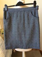 WHITE STUFF Navy Blue Short Pattern Straight Skirt Size 10 Wool Mix Business