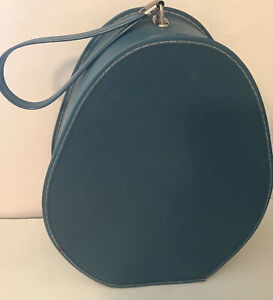 Vintage National Blue PURSE Oval Teardrop Egg Train Case Bag Blue 60s Hat/Wig