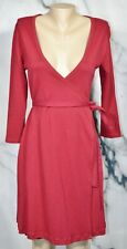 AMERICAN APPAREL Dark Red Wrap Dress Large 3/4 Sleeve Unlined Cotton Made in USA