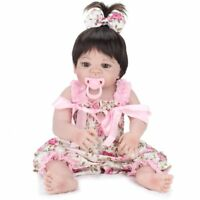 "22"" Full Body Vinyl Silicone Girl Doll Newborn Lifelike Reborn Baby Dolls Gift"