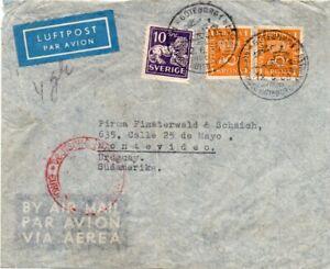 SWEDEN: Airmail cover to Uruguay via Germany 1939, Arrr.canc. Scarce destination