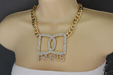 Women Gold Necklace Metal Chains Big D Hand Cuffs Paris Fashion Jewelry Charm