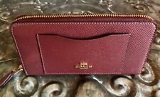 COACH~F54007~Accordion Zip Wallet~Crossgrain Leather~WINE/GOLD~$250~NWT!