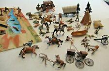 Vintage Lot Cowboys Indians Animals Teepee Wagon Stagecoach Canoe