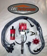 SB Chevy SBC Small Cap H.E.I Distributor Kit W/ Plug Wires + 45K Round Coil