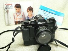 Black Canon AL-1 QF 35mm SLR Camera & 50mm f1.8 FD Lens & Power Winder A. NICE!