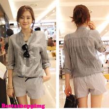 Korean Gray Women Casual Loose Slim Plus V Neck Button Down T Shirt Blouse Top M