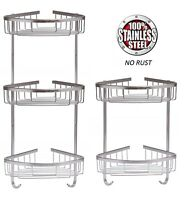 2 / 3 TIER RUST FREE STAINLESS STEEL SHOWER CADDY BATHROOM CORNER SHELF & HOOKS