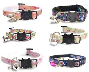Cat Collar with Bell - Floral Print   Safe Quick Release / Breakaway Buckle