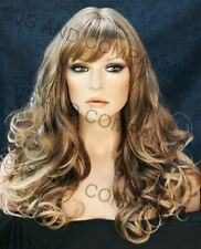 WOW Long Wavy Curly Ash Brown Blonde Mix Full Wig WACA 8T-124 with Bangs