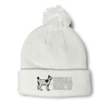 Pom Pom Beanies for Women Owned by A Japanese Bob Tail Embroidery Cats Skull Cap
