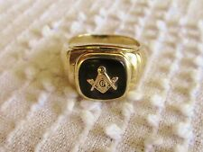 Vintage Masonic Lodge 10 K Gold Onyx Men's Ring Marked